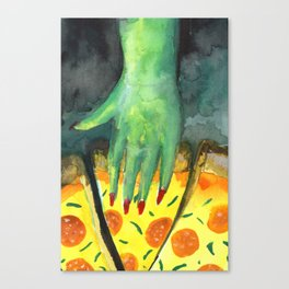 alien eating pizza Canvas Print