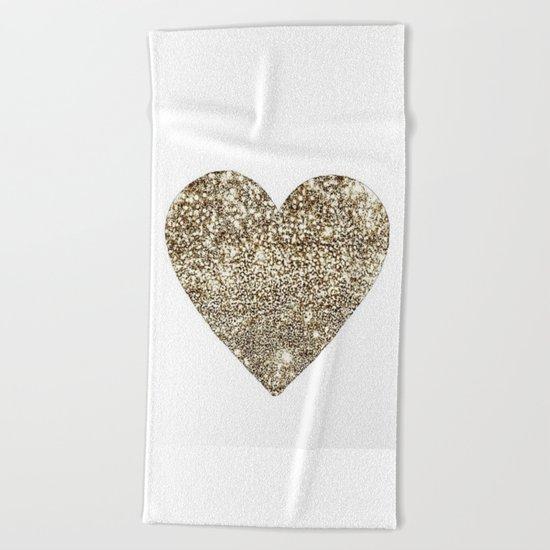 GOLD Heart-8 Beach Towel