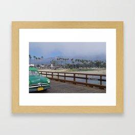 Green Car on Dock Framed Art Print