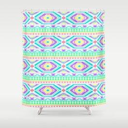 Aztec Geometric Print - Pastel bright colours Shower Curtain