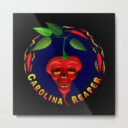 Carolina Reaper Skull Metal Print