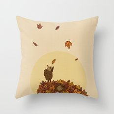 Autumn Hedgehogs Throw Pillow