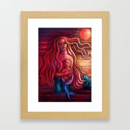 Mermother and Merboy Framed Art Print