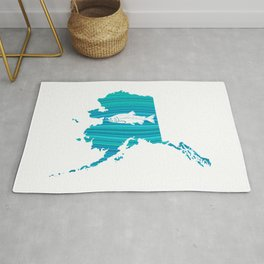 Alaska Wave Salmon Fishing Rug