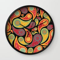 bohemian Wall Clocks featuring Bohemian Paisley  by Digi Treats 2