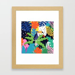 Bold Tropical Jungle Abstraction With Toucan Memphis Style Framed Art Print