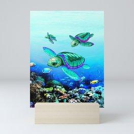 Sea Turtles Dance Mini Art Print