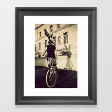Bunny on Bicycle Framed Art Print