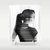 vonnegut Shower Curtains featuring She was lost in her longing to understand. by L. Leis