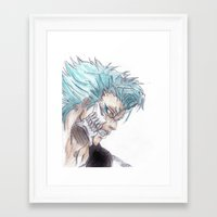bleach Framed Art Prints featuring Grimmjow Bleach  by Naomi Simone