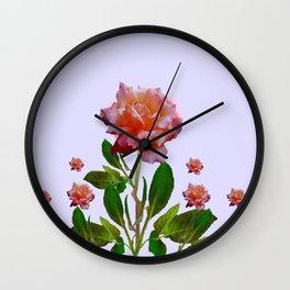 ANTIQUE PINK ROSES BOTANICAL ART Wall Clock