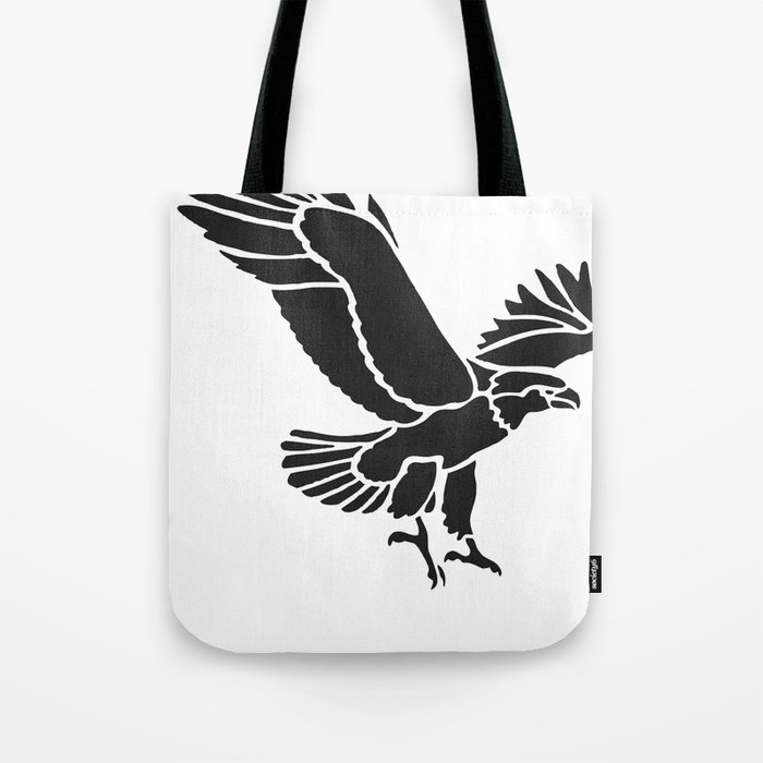 black and white flying eagle drawing tote bag by artonwear society6