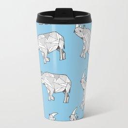 African Animals - Rhino Blue Travel Mug