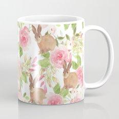 Pink brown watercolor roses floral bunny rabbit Mug