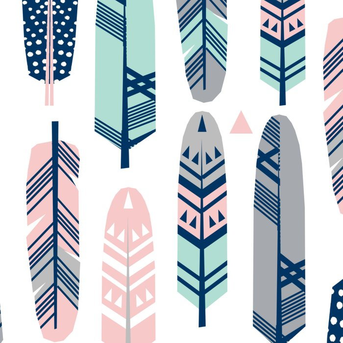 Feathers geometric trendy gender neutral colors modern feather and arrows pattern print dorm college Leggings