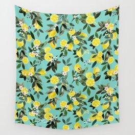 Summer Lemon Floral Wall Tapestry