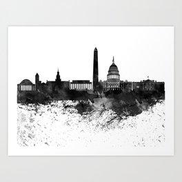 Washington Black White Drops Skyline Art Print