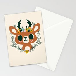 Deer with Flowers / Cute Animal Stationery Cards