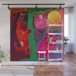 doodle animals hanging out Wall Mural