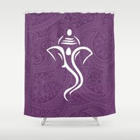 hindu Shower Curtains featuring Purple Ganesha - Hindu Elephant Deity by Sparkle&Glitter