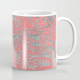 Modern abstract faux silver coral geometric tribal Coffee Mug