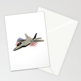 F22 Raptor with the American National Flag Stationery Cards