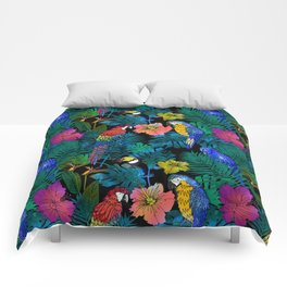 Tropical Birds and Botanicals Comforters