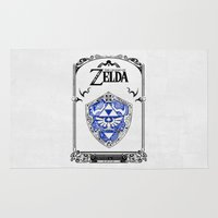 legend of zelda Area & Throw Rugs featuring Zelda legend - Hylian shield by Art & Be