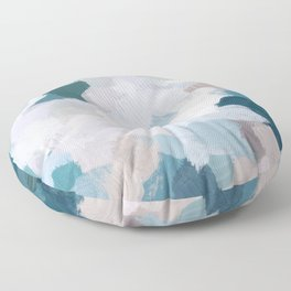 Turquoise Navy Blue Blush Pink Gray White Abstract Painting, Modern Wall Art, Digital Print Floor Pillow