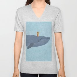 The Blue Whale With Crown Illustration Unisex V-Neck