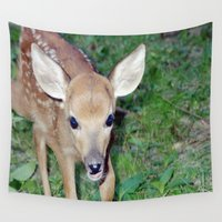 fawn Wall Tapestries featuring Little Fawn by Twilight Wolf