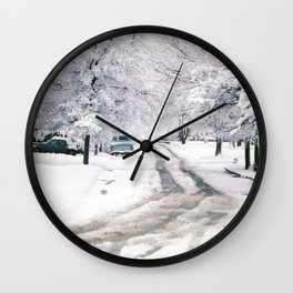Winter on Beechwood Lane Wall Clock