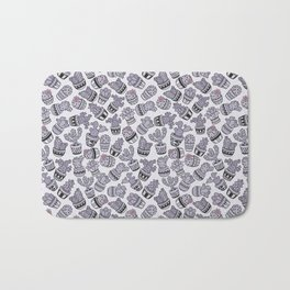 Blush violet black pink hand painted cactus floral Bath Mat