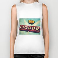 novelty Biker Tanks featuring A Great Day Indeed: Check Cashing & Liquor! by Honey Malek