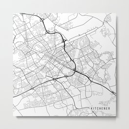 Kitchener Map, Canada - Black and White Metal Print