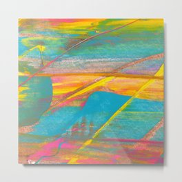 Rainbow and Gold Bold Abstract Painting Metal Print