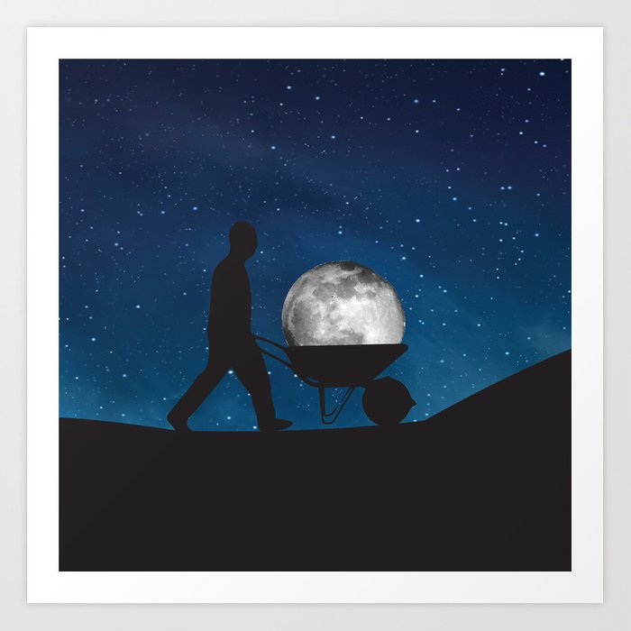 Moon In Wheelbarrow Art Print