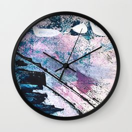 Breathe [5]: colorful abstract in black, blue, purple, gold and white Wall Clock