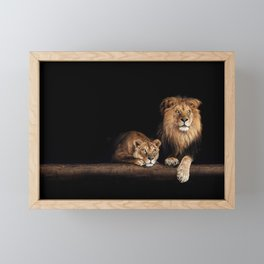 Lion family. Happy animal portrait Framed Mini Art Print