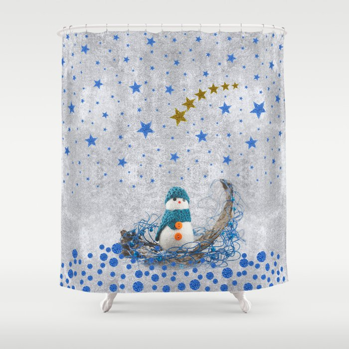 Snowman With Sparkly Blue Stars Shower Curtain By Homemadecreations