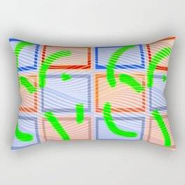Collage with wavy lines Rectangular Pillow