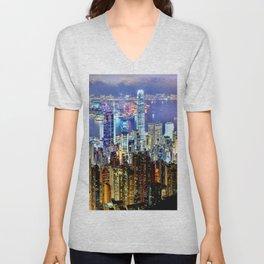Hong Kong City Skyline Unisex V-Neck