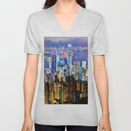 Hong Kong City Skyline Unisex V-Neck