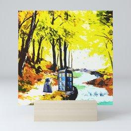 Tardis Art Speaking With Dalek Mini Art Print