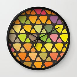 Bright colorful abstract triangles retro pattern Wall Clock
