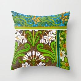 Jonquil Art Nouveau Flower Tiles Throw Pillow