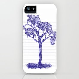 Blue Pen Hand Drawn Tree iPhone Case