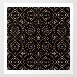 Fleur de Lis & Crown Pattern Art Print