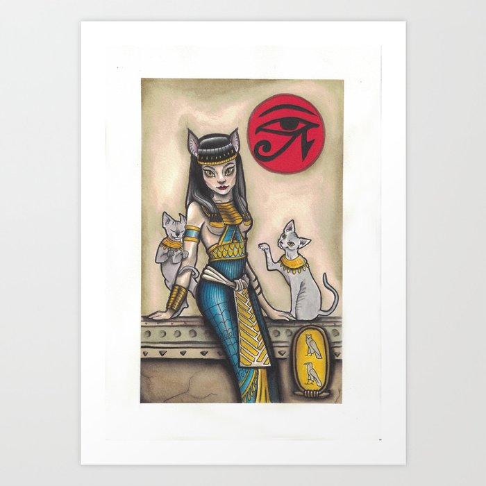 Bastet Cat Goddess Art Print By Pixiecatarts Society6