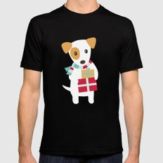 Cute Christmas dog holding a stack of gifts Mens Fitted Tee Black MEDIUM